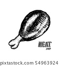 Grilled meat, bbq chicken leg. Barbecue food in vintage style. Templates for restaurant menu 54963924