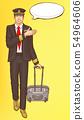 Pop art steward, flight attendant, air hostess man 54964606