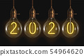 2020 glowing numbers inside of filament bulbs 54964620