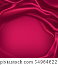 Red silk draped fabric background, textile frame 54964622