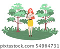 Female Holding Chamomile, Picking Daisies Vector 54964731