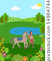Equine Sports, Woman with Horse on Nature Lake 54964744