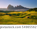 summer sunrise over Alpe di Siusi, Dolomites, Italy 54965562