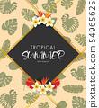 Tropical summer frame design with exotic palm leaf 54965625