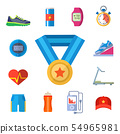 Fashion dressing run sport accessory icons sneaker activity footwear exercise workout. 54965981