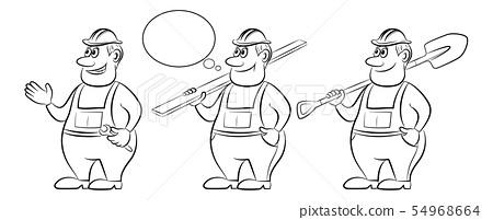 Cartoon Workers, Contours 54968664
