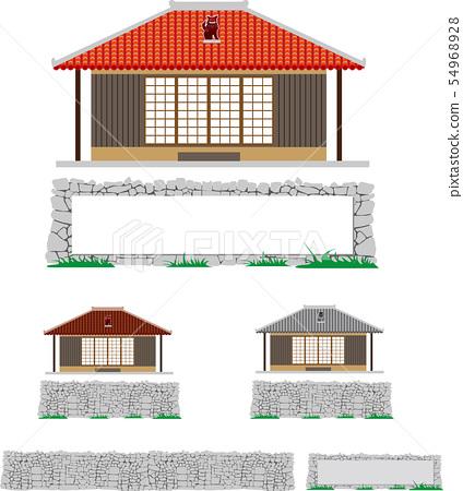 沖繩的老房子和石垣矢量零件材料 54968928