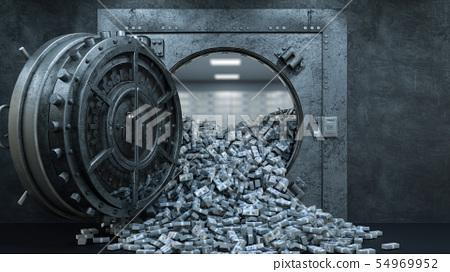 3d render Opening Of The Vault Door In Bank with a lot of money 54969952