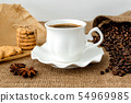Front view of hot black coffee in white cup 54969985