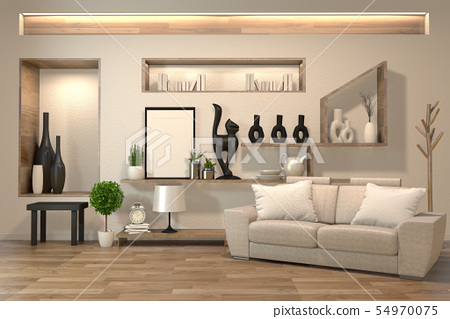 Minimal Interior Design Room Zen Style With Sofa Stock Illustration 54970075 Pixta