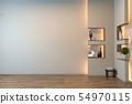 Empty zen room interior background with shelf wall 54970115