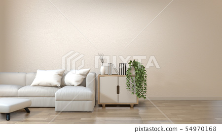 Modern zen living room with sofa and furniture - Stock ...