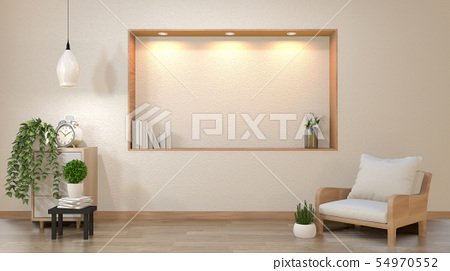 zen living room empty white wall background - Stock ...