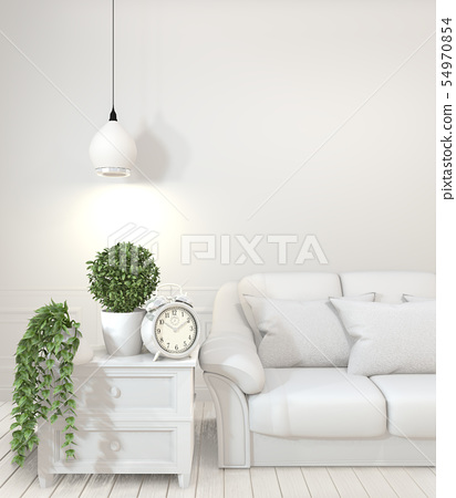 Interior poster mock up with  empty wooden  sofa, 54970854