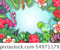 Abstract summer watercolor tropical paradise 54971179