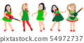 Cute Little Girls Group Isolated 54972737