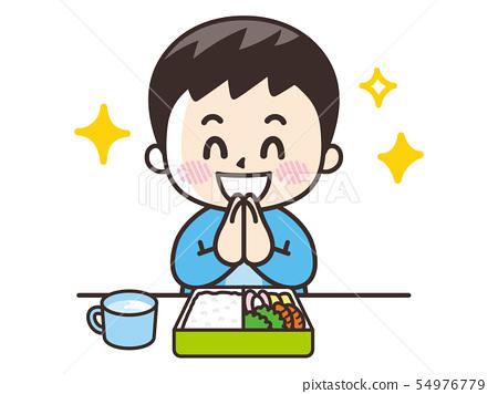 一個吃午餐盒的男孩 54976779
