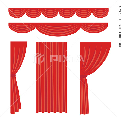 材料套紅色階段窗簾 54978791
