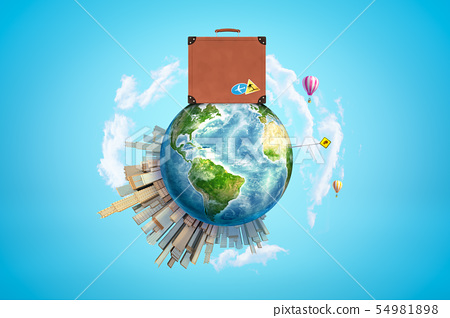 Earth with modern city popping up on one side, hot-air balloons flying in sky and huge brown travel 54981898