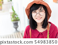 Cute young Glasses Asian Teen smile portait 54983850