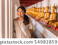 Cute Asian teen smile happy travel in Thai temple 54983859