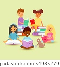 Kids reading in circle on a pile of books with cat cartoon vector illustration. School education and 54985279
