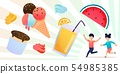 Fresh Summer Fruit, Sweets and Happy Children Set 54985385