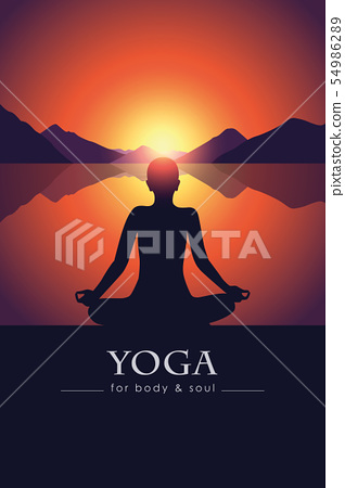 yoga for body and soul meditating person silhouette by the lake with mountain landscape at sunset 54986289