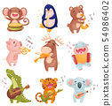 Humanized animals with musical instruments. Vector illustration on white background. 54986402