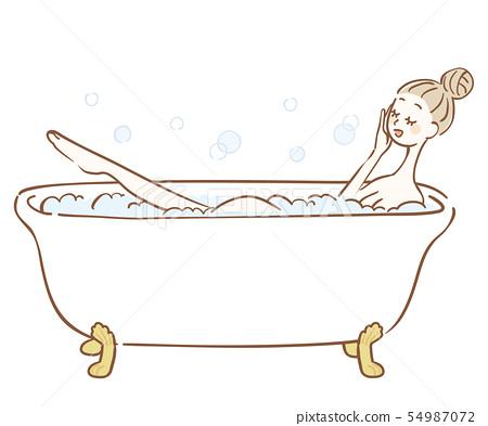 洗泡末浴的婦女的例證 54987072