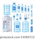 Water bottle water drink liquid aqua bottled in plastic container illustration set of bottling water 54989722
