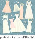 Wedding dresses set bride and bridesmaid white wear dressing accessories bridal shower celebration 54989861