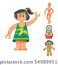 Different dolls toy character game dress and farm scarecrow rag-doll illustration 54989951