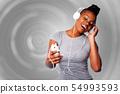 Beautiful woman listening to music 54993593