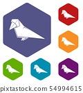 Origami bird icons vector hexahedron 54994615