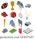 American football equipment icons set, isometric style 54997587