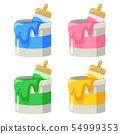 四種類型的油漆罐(粉紅色,藍色,綠色和黃色)的插圖 54999353