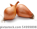 Fresh shallots, onions isolated on white 54999898
