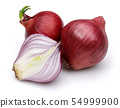 Red onion with slices isolated on white 54999900