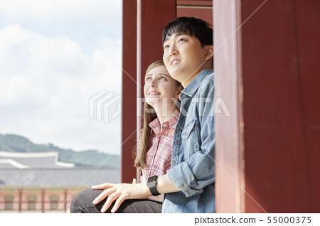 커플,연애,데이트,여행,관광,한옥,한국전통,경복궁,종로구,서울 55000375