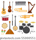 Musical instruments music concert with acoustic guitar or balalaika and musicians violin or harp 55000551