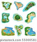 Island islet or peninsula with beach and ocean sea illustration set of paradise isles or peninsular 55000581