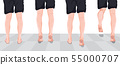 The legs of the men stand back and tiptoes. 55000707