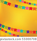 Colorful flags for decorative party on yellow. 55000708
