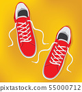 Red pair of sneakers with white laces. 55000712