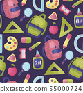 Seamless vector pattern with school supplies. 55000724