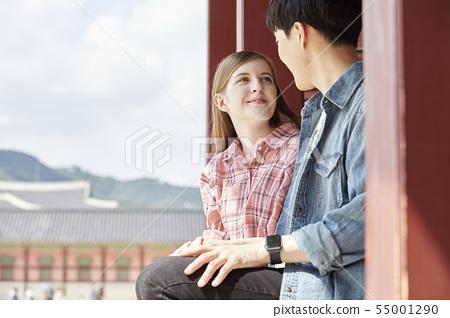 커플,연애,데이트,여행,관광,한옥,한국전통,경복궁,종로구,서울 55001290