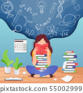 Girl prepare to exam. Young woman sitting read book and thinking about formulas . Education 55002999