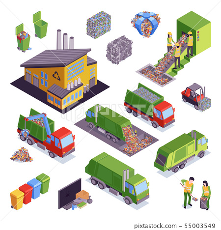 Isometric Garbage Recycling Icon Set 55003549