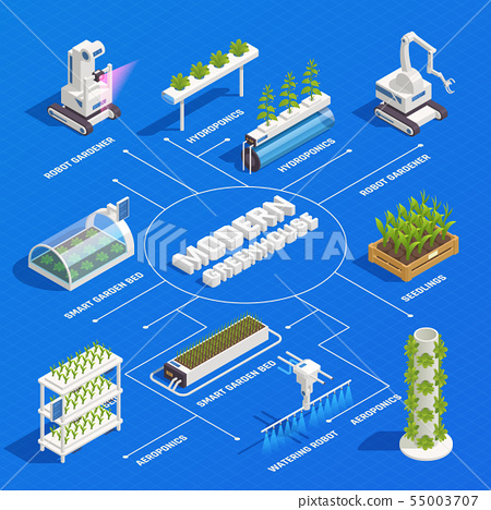 Greenhouse Hydroponics Isometric Flowchart  55003707